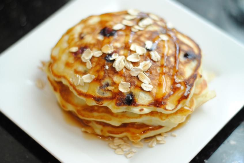 Blueberry Oatmeal Greek Yogurt Pancakes
