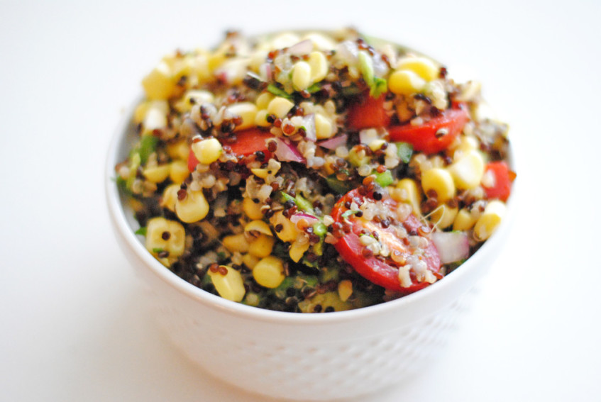 healthy corn avocado quinoa
