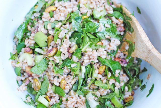 healthy kale and farro salad