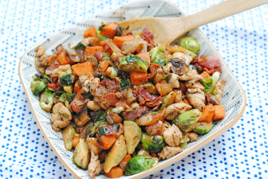 Chicken Skillet with Brussels, Apples Sweet Potatoes