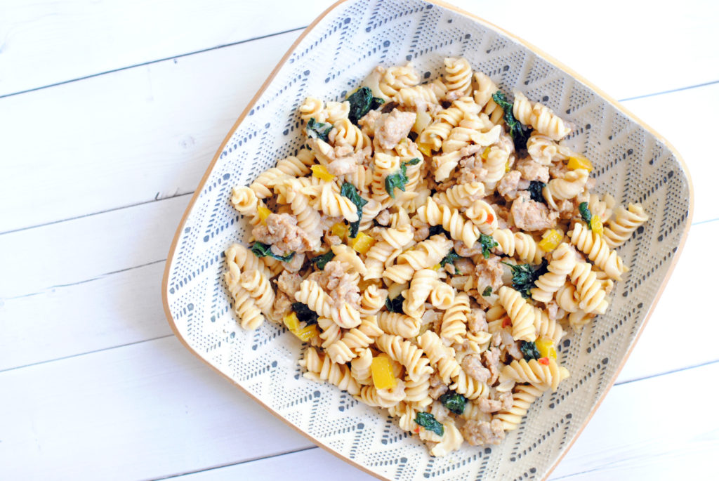 healthy chicken sausage and kale pasta recipe