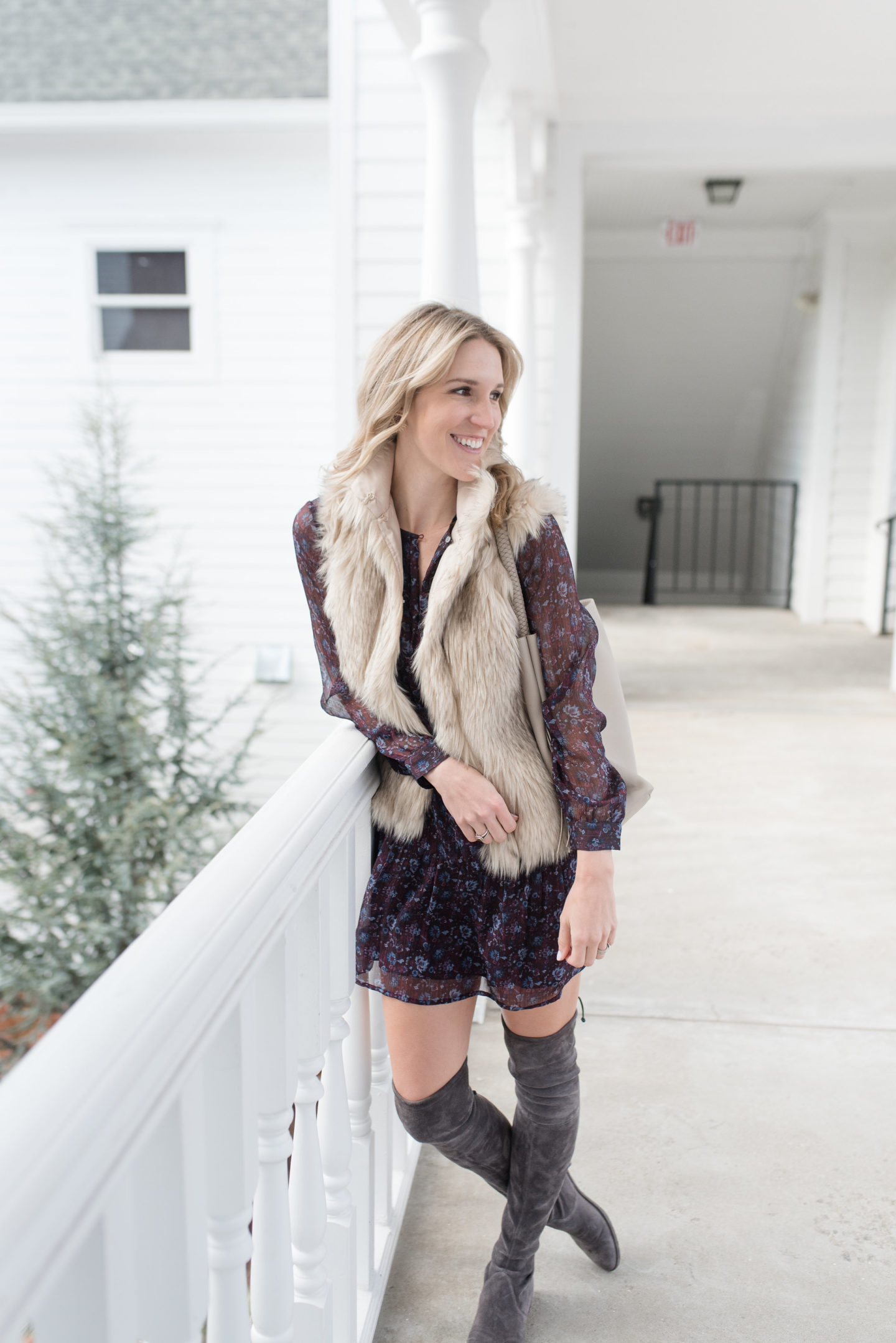 Faux Fur Vest Outfit / Turquoise and Teale