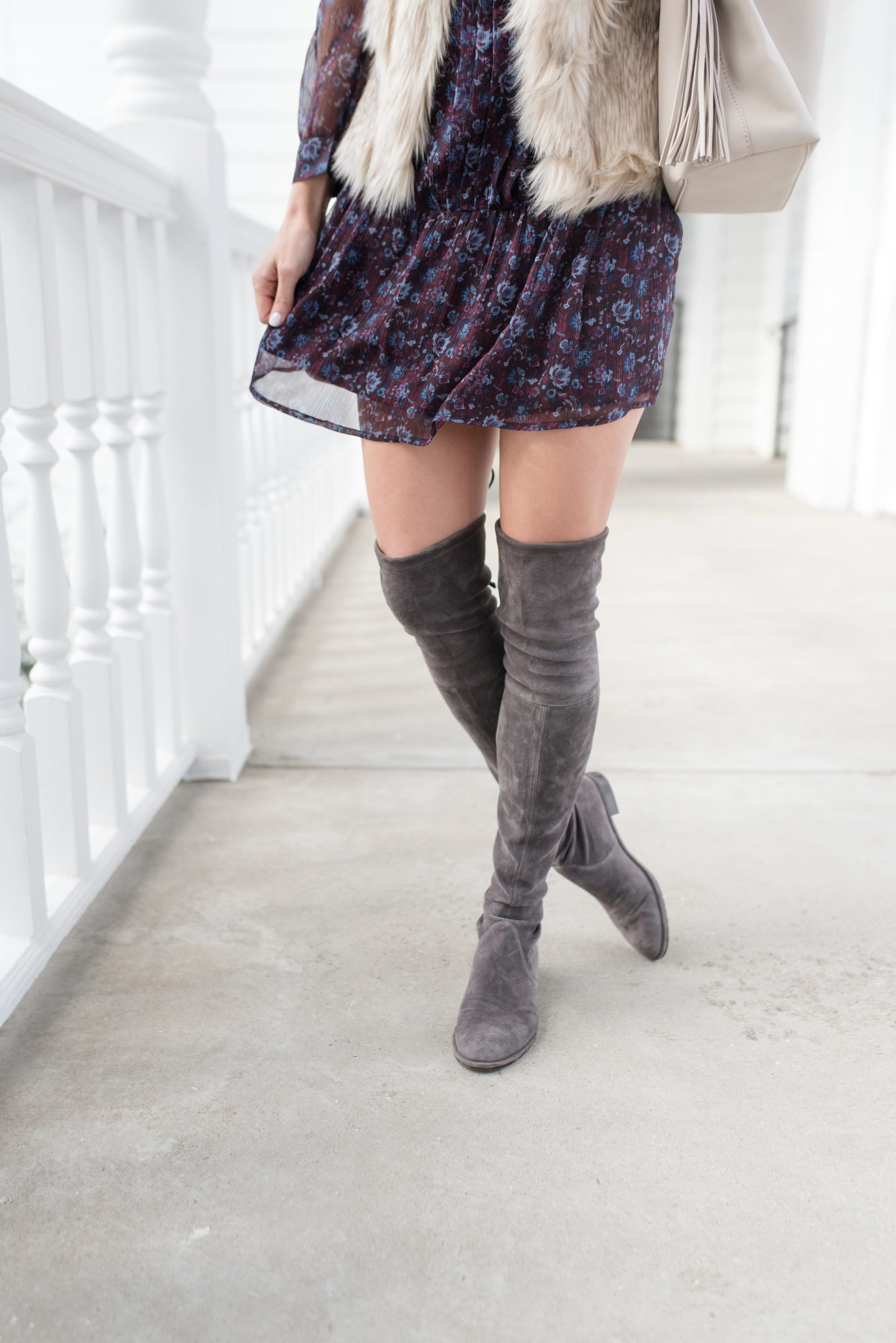 Suede over the knee boots outfit