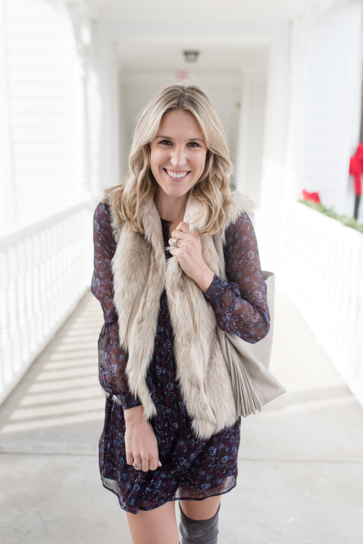Fur Vest Outfit for Fall / Turquoise and Teale