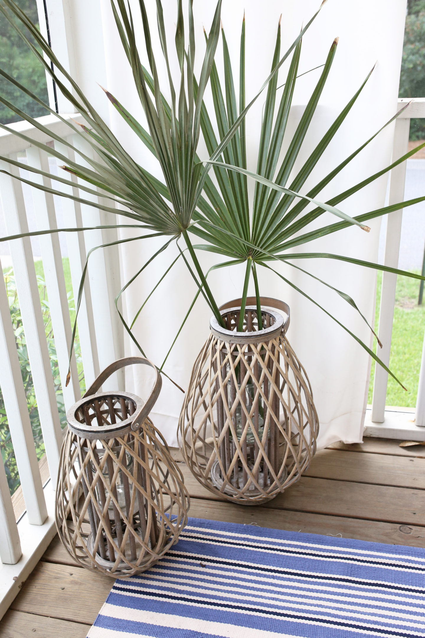 hurricane lanterns palm fronds
